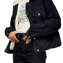 Women's Topshop Faux Shearling Trim Denim Jacket, Size 8 US - Black   Nordstrom