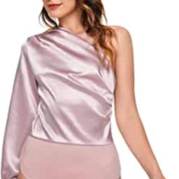 Women's One Shoulder Long Sleeve High Waist Satin Bodysuit Leotard | Amazon (US)