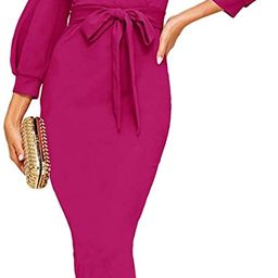 Women's Plunging V Neck Bishop Sleeve Bodycon Belted Dress | Amazon (US)