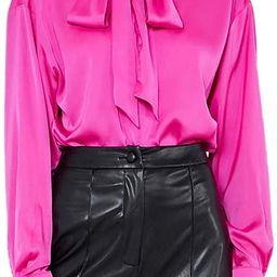 Women's Solid Print Elegant Bow Tie Neck Long Sleeve Work Office Blouse Top | Amazon (US)