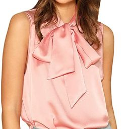 Women's Solid Bow Tie Neck Sleeveless Casual Work Blouse Shirts Tops | Amazon (US)
