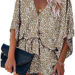 Women's Fashion Leopard Print Shorts Jumpsuit Wrap V Neck 3/4 Short Sleeve Casual Loose Romper ...   Amazon (US)