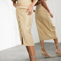 ASOS EDITION split side coordinating midi skirt in caramel   ASOS (Global)