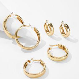 Simple Design Hoop Earrings 3pairs | SHEIN