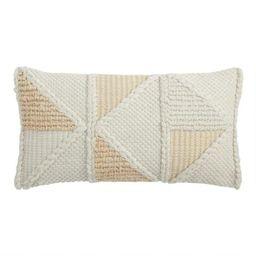 Ivory Geo Textured Indoor Outdoor Lumbar Pillow | World Market