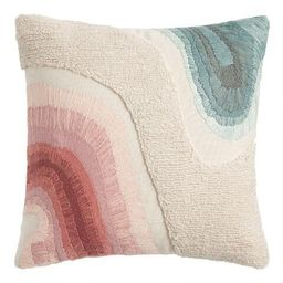 Pink, Ivory And Green Ombre Embroidered Throw Pillow | World Market