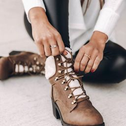 Candice Tan Lace Up Booties | The Pink Lily Boutique