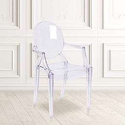 Emma + Oliver Oval Back Ghost Armchair in Transparent Crystal | Acrylic Vanity Chair | Amazon (US)