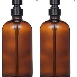 2 Pack Thick Amber Glass Pint Jar Soap Dispenser with Matte Black Stainless Steel Pump, 16ounce B...   Amazon (US)