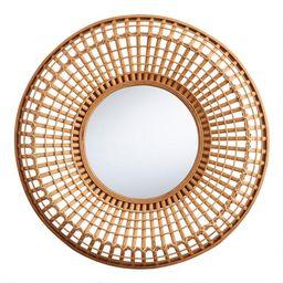 Round Natural Bamboo Woven Mirror   World Market