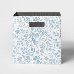 "13"" Fabric Cube Storage Bin Soft Blue Floral Pattern - Threshold™   Target"