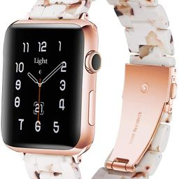Light Apple Watch Band - Fashion Resin iWatch Band Bracelet Compatible with Copper Stainless Stee... | Amazon (US)