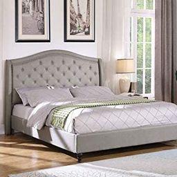 Best Master Furniture Sophie Upholstered Tufted Platform Bed, Grey King   Amazon (US)