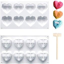 MEABEN Sphere Silicone Mold 2 Pack Diamond Heart Silicone Mold, 8 Cavities Love Non-stick Easy Re...   Amazon (CA)