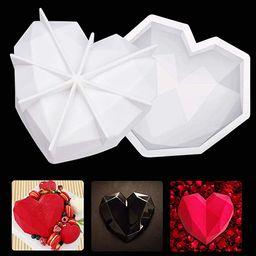VXDAS 2PCS Valentine's day 3D Diamond Heart Love Shape Silicone Cake Mold Chocolate Mousse Cookie...   Amazon (CA)