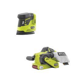 RYOBI 18-Volt ONE+ Cordless Brushless Belt Sander with Dust Bag and Corner Cat Sander with Sample... | The Home Depot