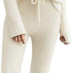 Women's Casual Pajama Set Fuzzy Fleece Knitted Long Sleeve Pj Loungewear   Amazon (US)