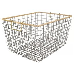 Large Rectangular Wire Basket with Seagrass Rim - Antique Pewter - Threshold™ | Target