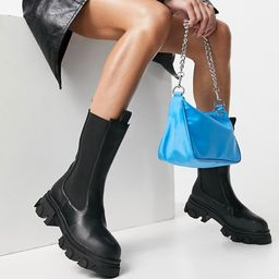 Public Desire Wide Fit Boston pull on chunky boots in black | ASOS (Global)