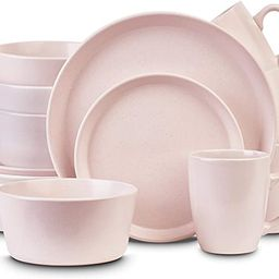 Stone Lain Stoneware Dinnerware Set, Service for 4, Light Pink   Amazon (CA)