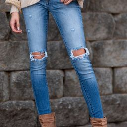 Won't Be Ignored Medium Wash Distressed Skinny Jeans | Red Dress