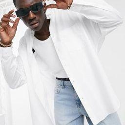 ASOS DESIGN extreme oversized dad shirt in white | ASOS (Global)