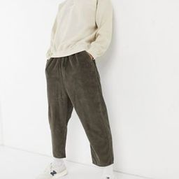 ASOS DESIGN drop crotch cord trousers in washed brown | ASOS (Global)