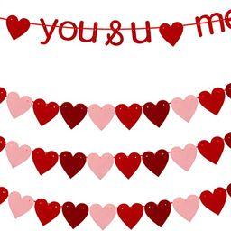 4 Pieces Felt Heart Garland Banner I Love You with Heart Garland Valentines Day Banner for Valent... | Amazon (CA)