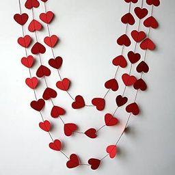 Red heart garland - Heart garland - Valentines day heart garland - Paper garland - Wedding decora... | Amazon (CA)