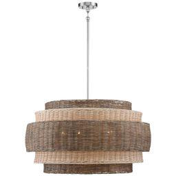 "Montauck Bay 20""W Nickel and Rattan 4-Light Pendant Light | LampsPlus.com"