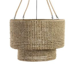 Rattan Double Drum Tiered Pendant, Brown | Pottery Barn (US)