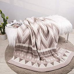 Glitzhome Knit Throw Blanket Lightweight,Polyester Geometric Pattern Feather Yarn Soft Sofa Couch... | Amazon (US)