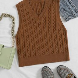 Plus Cable Knit V-neck Sweater Vest         SKU: swtop04200922414                   1603 Reviews ... | SHEIN