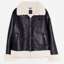 It's Now or Faux Leather Plus Aviator Jacket   NastyGal (US & CA)