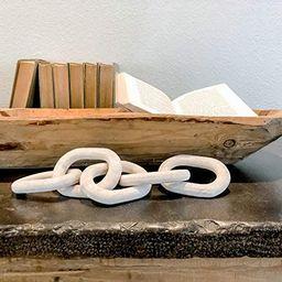 UPMODERN Wood Chain Link Decor- Hand Carved Decorative Wood Chain, 5 Link Chain Decor, White Wash... | Amazon (US)