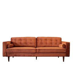 Mid-Century Modern Harriet Burnt Orange Velvet Sofa | Walmart (US)