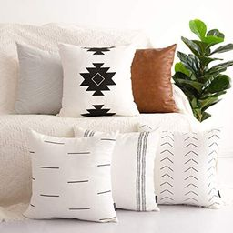 HOMFINER Decorative Throw Pillow Covers for Couch, Set of 6, 100% Cotton Modern Design Stripes Ge...   Amazon (US)