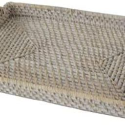 """Medium 12""""x17"""" Rectangular Wicker Serving Trays and Platters with Handles 