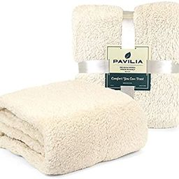 PAVILIA Plush Sherpa Throw Blanket for Couch Sofa   Fluffy Microfiber Fleece Throw   Soft, Fuzzy,...   Amazon (US)