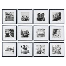 """12pc 12"""" x 12"""" Black Frame Kit, Matted To 7.5"""" x 7.5"""" - Gallery Perfect 