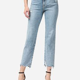 Flying Monkey High Waisted Distressed Cropped Straight Jeans | Express