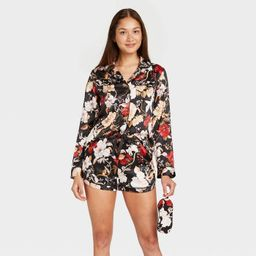 Women's 3pc Floral Print Satin Long Sleeve Notch Collar Top and Shorts Pajama Set with Eye Cover ...   Target