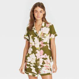 Women's Floral Print Beautifully Soft Short Sleeve Notch Collar Top and Shorts Pajama Set - Stars...   Target