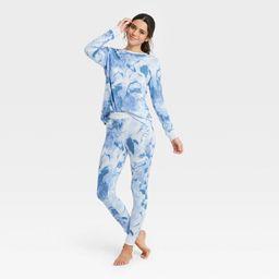 Women's Tie-Dye Cozy Long Sleeve Top and Leggings Pajama Set - Stars Above™ Blue   Target