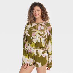Women's Floral Print Beautifully Soft Long Sleeve Top and Shorts Pajama Set - Stars Above™ Gree...   Target