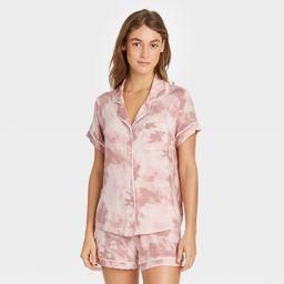 Women's Tie-Dye Beautifully Soft Short Sleeve Notch Collar Top and Shorts Pajama Set - Stars Abov...   Target