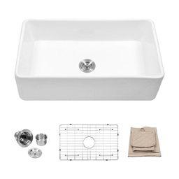 33 Inch White Porcelain Single Bowl Farmhouse Kitchen Sink (White) | Overstock