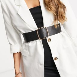 ASOS DESIGN wide square buckle waist belt in black | ASOS (Global)