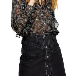 Women's Topshop Star & Moon Blouse, Size 2 US - Black | Nordstrom