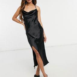 ASOS DESIGN satin slip Dress with strap detail in black | ASOS (Global)